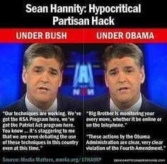 Sean Hannity: Hypocritical Partisan Hack. Thank goodness Cumulus is dropping both him and Rush at years end.
