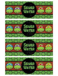 PRINTABLE WATERBOTTLE Labels Teenage Mutant Ninja by AtomDesign