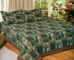 mountain log cabin lodge king size quilt set new