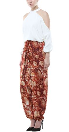 Printed Tie-up Dhoti Pants with White Round Neck Shoulder Cut Top https://www.rocknshop.com/brand/deme-by-gabriella.html #RockNshop #IndianDesigners #Luxury #ShopNow #DemebyGabriella