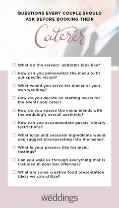 When it comes to the catering, there are endless possibilities from what to serve to how to serve it. We've gathered a list of questions to relieve the stress from your catering decisions. Source by MarthaWeddings Romantic Wedding Receptions, Wedding Reception Decorations, Romantic Weddings, Reception Food, Wedding Planning Tips, Budget Wedding, Wedding Reception Checklist, Wedding Hacks, Wedding Ideas