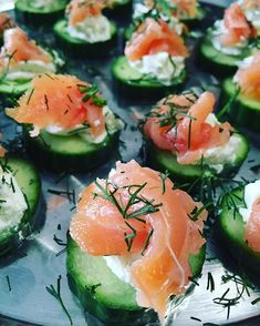 One of our tray passed hors d' oeuvres at the wedding tonight. Smoked Salmon on…
