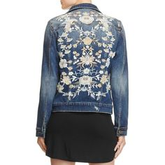Aqua Floral Denim Jacket - 100% Exclusive (250 BGN) ❤ liked on Polyvore featuring outerwear, jackets, light wash, flower print jacket, floral print denim jacket, denim jacket, embroidered jacket and jean jacket