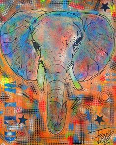 Koop 'Olifant schilderij kleurrijk' van Femke van der Tak (fem-paintings) voor aan de muur. Elephant, Canvas, Drawings, Animals, Paintings, Art, Products, Colorful Elephant, Idea Paint