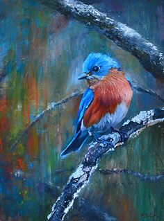"Rainbow Blue - Impressions of a Bluebird by Kimberly Beck ~ 12"" x 9"""