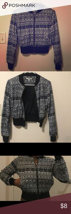 Papaya Aztec Design Crop Bomber Jacket A cute and trendy jacket for any casual occasion! It gray and black printed with Aztec designs. It's cropped and has a bomber jacket fit. Papaya Jackets & Coats