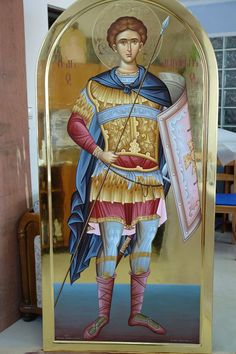 Saint Demetrius of Thessaloniki Religious Icons, Religious Art, Orthodox Catholic, Greek Icons, Angel Warrior, Byzantine Icons, Archangel Michael, Art Icon, Orthodox Icons
