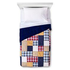 Patchwork Plaid Quilt - Red & Blue - Pillowfort™