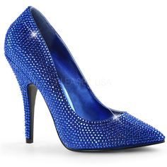 c320ef59a7fa PLEASER SEDUCE-420RS+ Royal Blue Satin Pumps