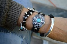 Penny Luna Statement Bracelets Collection - Materials - Leather Metal Semi Precious Beads Themes ...