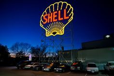Restored Shell sign on Memorial Drive. (Photo by Hargo) DiscoverCambridgeport.com
