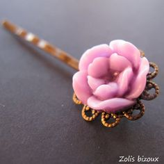 Barrettes à cheveux Violette, accessoire de mode mauve - Une création zolis bizoux :)