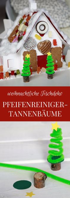 Pfeifenreiniger basteln mit Kindern: Eine weihnachtliche Tischdeko Idee sind die Pfeifenreiniger Tannenbäume. Für die Pfeifenreiniger Weihnachtsbäume müssen lediglich Pfeifenputzer aufgewickelt und auf ein kleines Aststück geklebt werden. Je nach Geschmack können die Tannenbäume aus Pfeifenreiniger in unterschiedlichen Farben und Größen gestaltet werden. Das Pfeifenreiniger basteln für Weihnachten ist eine schöne Bastelidee für Kinder, die als Tischdeko für Weihnachten verwendet werden kann.