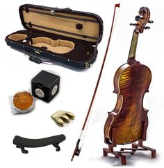 SKY Antique Professional Acoustic Violin with Lightweight Case, Brazilwood Bow, Rosin Cake, Shoulder Rest, String and Mute by Sky Music jsmartmusic88.com
