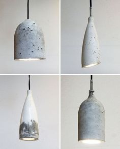 How to Use Plastic Bottles to Make Concrete Pendant Lamps via Brit + Co. Lights made from plastic bottles and concrete. Concrete Projects, Diy Projects, Diy Pendant Light, Pendant Lamps, Pendant Lights, Diy Light, Jar Chandelier, Globe Pendant, Chandeliers
