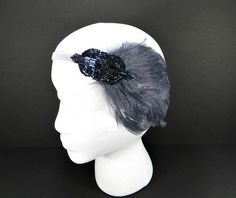 Downtown Abby Great Gatsby 1920s Flapper Headband Lady Mary Wedding Party Gray Feather with Blue Purple Beaded Fascinator on Etsy, $30.00
