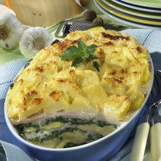 Kartoffel-Auflauf mit gekochtem Schinken und Blattspinat Rezept | LECKER