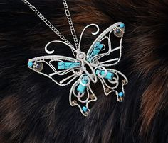 Christmas gift - Pendant Frozen butterfly with turquoise