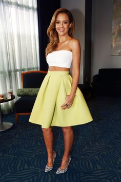 Jessica Alba crop and flare skirt spring summer  white bright pastel