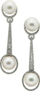 Cultured Pearl, Diamond, White Gold Earrings