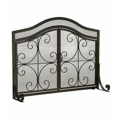 Plow Hearth Crest Small Fireplace Screen with Doors Solid Wrought Iron Powder Coat Base Metal Mesh Decorative Scrollwork Design Free Standing Black Finish 35 12 W x 26 34 H at Center >>> For more information, visit image link. Fireplace Screens With Doors, Fireplace Doors, Small Fireplace, Fireplace Ideas, Fireplace Glass, Fireplace Shelves, Mantel Ideas, Bedroom Fireplace, Farmhouse Fireplace