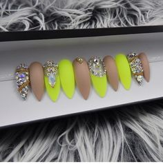 Neon and nude bling press on nails