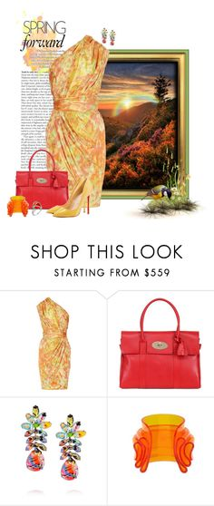 """""""Vibrant Mountaintop Rainbow"""" by lisa-arnold-holden ❤ liked on Polyvore featuring Marc, Lela Rose, Mulberry, Tom Binns, Balenciaga and Christian Louboutin"""