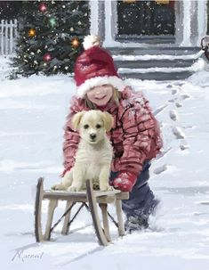 Metaverse Girl And Puppy by The Macneil Studio Framed Art Christmas Scenes, Christmas Art, Vintage Christmas, Winter Pictures, Christmas Pictures, Canvas Frame, Canvas Art, Canvas Prints, Home Luxury