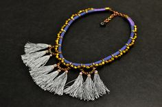 Tassel Statement Necklace, Bohemian Fashion Necklace, Hippie Rope Necklace, Electric Blue, Grey Tassels and Old Gold Beads
