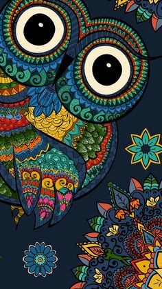 New iphone screen savers backgrounds pattern desktop wallpapers ideas Owl Wallpaper Iphone, Cute Owls Wallpaper, Colorful Wallpaper, Desktop Wallpapers, Madhubani Art, Madhubani Painting, Doodle Art Drawing, Mandala Drawing, Mandala Art Lesson