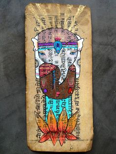 ¨Sonho de Elefante¨ Acrilic e porpurina sobre papel antigo do Nepal. #alinet #buda #whiteelephant #gold