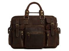 Shimla Leather Carry On Satchel, Dark Brown