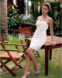 Wedding dresses with a mermaid silhouette or an A-line silhouette is almost universally flattering. Here is the Sweetheart Short/Mini Sheath/Column Wedding Dresses With Sashes Flowers right for you. If for this reason you think A-line wedding dress or mermaid wedding dress out of date, you are completely wrong.