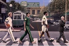"1980's Boston Celtics ""Big Three"": Larry Bird, Kevin McHale, and Robert Parish led by Red Auerbach nba Beatles abbey road crosswalk street garden Massachusetts basketball 1986 world champions 80's 90's 1990's walking walkers walk"