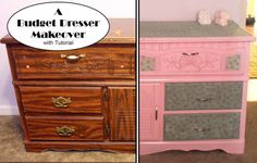 Happy Cupcake Creations: A Budget Dresser Re-do : Modge Podge fabric to dresser : Paint old furniture