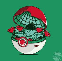 Bulbasaur inside a Poke Ball.