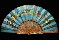 Folding fan with gilt mother of pearl monture & painted leaf, signed 'E. Parmentier.