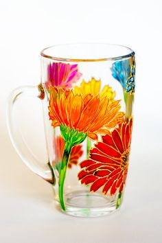 Mom Mug Gerbera Flowers Coffee Mug Mothers Day Personalized Grape Painting, Bottle Painting, Bottle Art, Bottle Crafts, Glass Painting Designs, Paint Designs, Painted Glass Bottles, Painted Coffee Mugs, Stained Glass Flowers