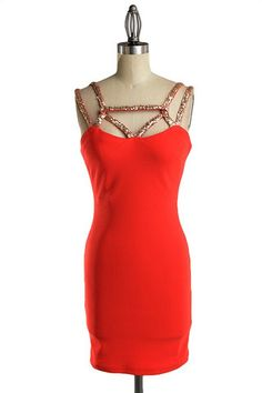 Take Center Cage Sequin Dress - Red + Gold - $48.00 | Daily Chic Dresses | International Shipping