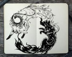 black and white, draw, drawing, wolfes