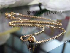 Metal Ball Necklace Simple Necklace Minimalist by YaesilJewelry