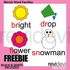 Free common blends clip art. Word families clipart pack featuring beginning blends br, dr, fl, sn, Get full collection of beginning blends clip art here Link-Blends Clip Art