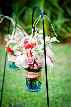 aisle arrangement for outdoor wedding