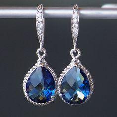 Sapphire Blue Crystal Teardrop Earrings in Silver $38.00