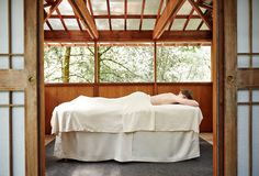 Commune with nature in a secluded pagoda along the forested banks of Salmon Creek. These light and airy wooden enclosures, heated when necessary, provide the ideal setting for your massage. Our Pagodas are located along a series of gravel trails,which require a moderate walk to the back of our property. Not available for couples, Floor Thai or Floor Shiatsu massages or during inclement weather.
