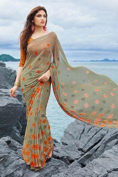 #Multi Color #Printed #PartyWear #Designer Saree