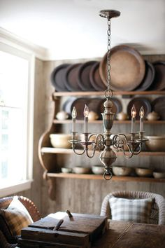 Buy the Hinkley Lighting Olde Bronze Direct. Shop for the Hinkley Lighting Olde Bronze Cambridge 5 Light 1 Tier Candle Style Chandelier and save. Primitive Homes, Primitive Kitchen, Country Kitchen, Country Living, Primitive Plates, Primitive Country, Primitive Decor, Wooden Chargers, Sweet Home
