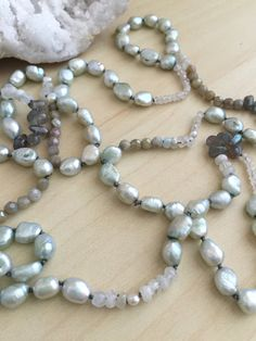 Long Freshwater Pearl Necklace Sea Foam Handknotted Freshwater Pearls Labradorite Moonstone Pearl Mala Layering Boho Pearls with Gemstones