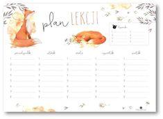 school timetable with fox Timetable Planner, School Timetable, Happy Planner, Life Planner, School Planner, School Notes, School Organization, Weekly Planner, Printable Planner