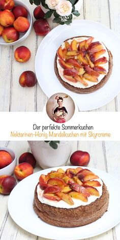 Nectarine honey almond cake with skyr cream. A loose and light almond cake . - Nectarine honey almond cake with skyr cream. The basis is a loose and light almond cake, on top of - Healthy Vegetarian Diet, Vegetarian Recipes, Healthy Eating, Healthy Recipes, Healthy Food, Food Blogs, Cooking Whole Chicken, Ham And Eggs, Honey